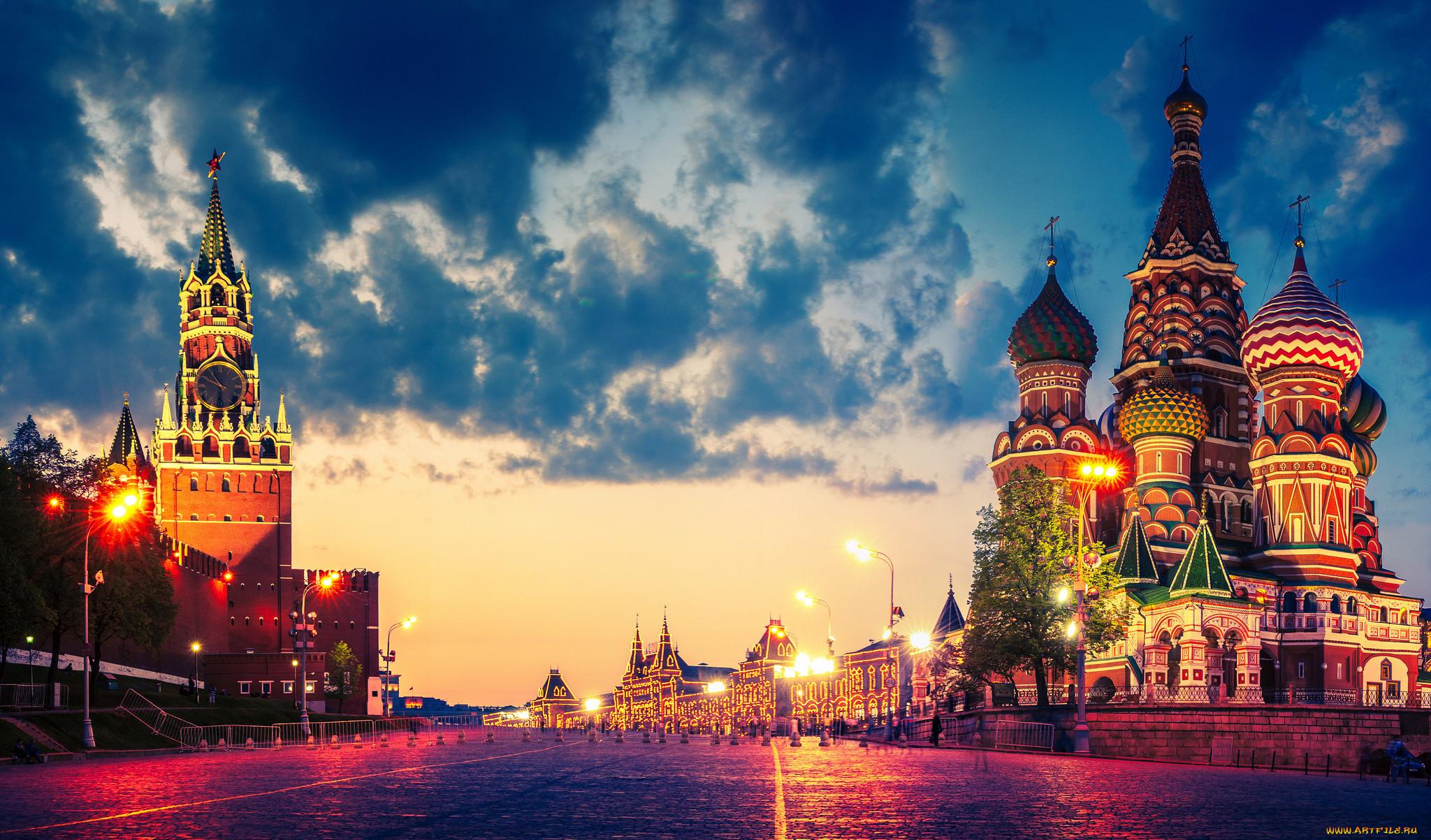 города, москва , россия, огни, облака, кремль, храм, василия, блаженного, красная, площадь, москва, сумерки